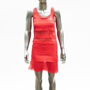 DKNY Red Sheer Tiered Dress Size 4